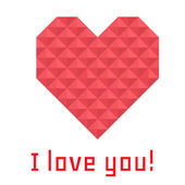 Icon heart of triangles, banner, I love you — Stock Vector