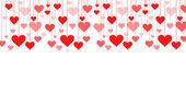 Bandera de una guirnalda de corazones vector fondo de San Valentín, boda — Vector de stock