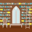 Illustration. Interior of old large home library — Stock Vector #65643821