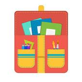 School bag with school supplies — Cтоковый вектор