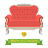Furniture, antique sofa baroque, flat design — Stok Vektör
