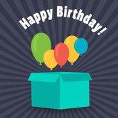 Grußkarte mit einem Geburtstag. Ballons fliegen out of the Box für Geschenke. Flache Bauform. — Stockvektor