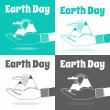 Earth Day vector Concept. Nature in human hands. Flat design. — Stok Vektör #69576413
