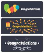 Vector set of greeting banners. Congratulate. — Stock Vector