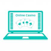 Icons. Online casino. playing cards on a laptop monitor. Flat design. — Stock Vector
