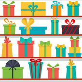 Seamless pattern of gift boxes on the shelves. Gift shop. — Stock Vector