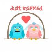 Только что вышла замуж. Милые птицы - жених и невеста. Открытка. — Cтоковый вектор