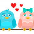 Vector illustration. Cute love birds sitting on a perch. — Vecteur #71141301
