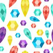 Seamless pattern precious stones, gems, diamonds, crystals. — Stock Vector