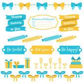Set of festive birthday party elements. Flat design. — Stock Vector