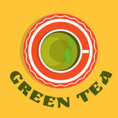 A cup of green tea with leaves - view from the top. — Vector de stock