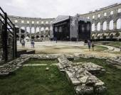 Iside of Amphitheater 1st century AD in Pula. Street stage. — Stock Photo