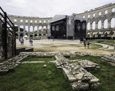 Iside of Amphitheater 1st century AD in Pula. Street stage. — ストック写真