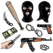 Weapons robbery killer set — Stock Vector