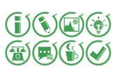 Green icons set — Stock Vector