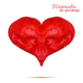 Valentine. Watercolor red heart — Stockvektor
