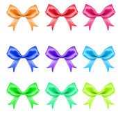 Colorful silk bows on white background — Stock Vector