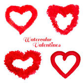 Watercolor Valentine set on white background. — Wektor stockowy