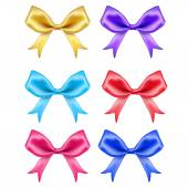 Colorful silk bows on white background — Vettoriale Stock