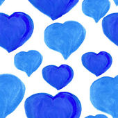 Seamless watercolor pattern Hearts — Cтоковый вектор