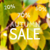 Autumn sales on defocused background with leaves. — Stock Vector