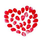 Red heart of fingerprints. — Stock Vector