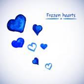Blå hjärtan på en vit bakgrund. — Stockvektor