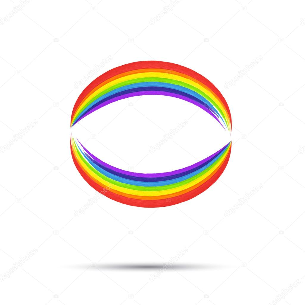 Rainbow circle logo template. Rainbow emblem symbol. Watercolor ...