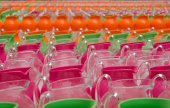 Colourful Jars lined up — Stock Photo
