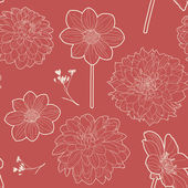 Seamless red vintage floral pattern with aster and daisy — Stock Vector