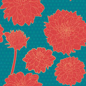 Colorful red aster seamless floral pattern with  blue dots — Stock Vector