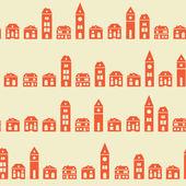 Vintage red houses beige pattern — Stock Vector