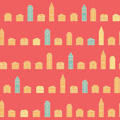 Vintage colorful houses pink pattern — Stock Vector