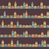 Vintage colorful houses brown pattern — Vector de stock