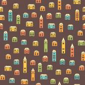 Vintage colorful houses brown pattern — Stock Vector