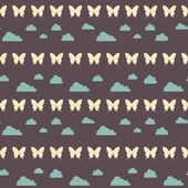 Seamless night clouds butterfly pattern — Stock Vector