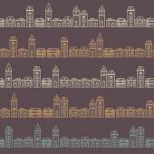 Vintage outline brown houses pattern — Stock Vector