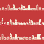 Vintage red houses pattern — Stock Vector