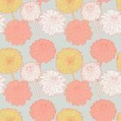 Patrón de asters suave sin fisuras florales vintage primavera japonesa — Vector de stock