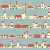 Vintage blue pretty town pattern — Stock Vector