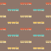 Vintage colorful brown train pattern — Stock Vector