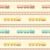 Vintage white colorful train pattern — Stock Vector