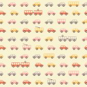 Vintage beige colorful car pattern — Stock Vector