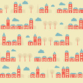 Vintage red town pattern — Stock Vector