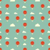 Vintage blue town red balloons pattern — Stockvektor