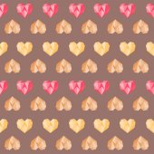 Vintage brown polygon pink colorful heart pattern — Vector de stock