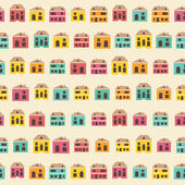 Amazing seamless vintage pretty town pattern — Stock Vector
