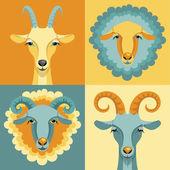 Keçi ve koyun vektörel çizimi. — Stok Vektör