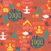 Yoga lifestyle seamless pattern  — Stock Vector