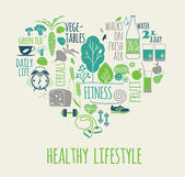 Healthy lifestyle vector illustration. — Stockvector